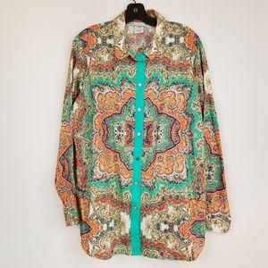 Jaclyn Smith Paisley print button down blouse top